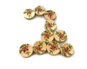 Buttons Purple Flowers and Green Leaves - Set of Ten (10) - Spring