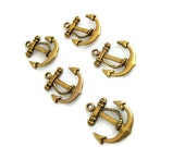 Anchor Charms - Set of Five Gold - Nautical Theme