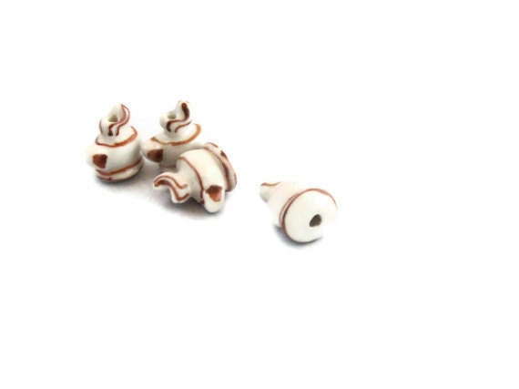 Coffee Beads - Porcelain - Java - Brown, White, Beige - Set of 4