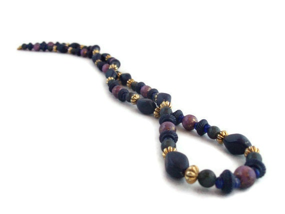 Vintage Purple and Blue Necklace - Long 30""