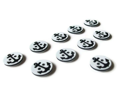 Anchor Buttons - Nautical Black White - Set of 10