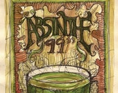 Absinthe 99 - Come play with the green fairy (11 by 14 limited edition print)