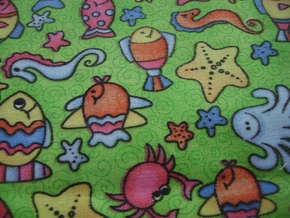 2 Yards Sea Creatures on Green Swirly Background Cotton