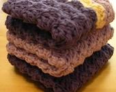Plum and Lavendar Washcloths or Dishcloths-Set of 3