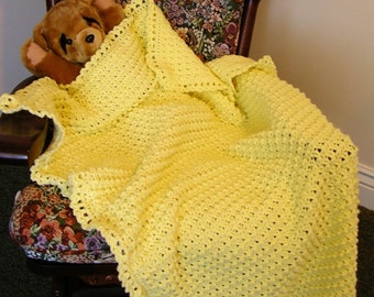 Baby Afghan Baby Blanket Handmade NEW - Soft Lemon Yellow-Crocheted