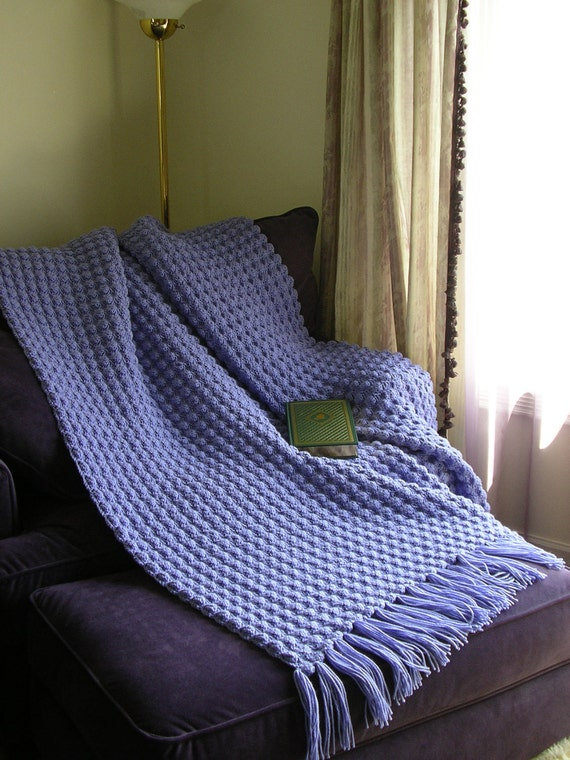 Handmade NEW Afghan Blanket-Lavendar Blue Shell Pattern