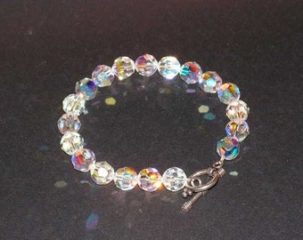 Mothers Day Swarovski Crystal Bracelet With 8mm Round Crystal, Bali Silver