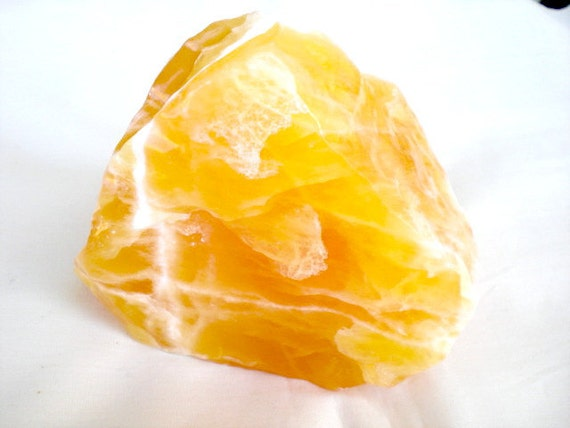 Calcite Specimen, Raw Crystal, Yellow, 4 x 3 1/2 x 3 inches