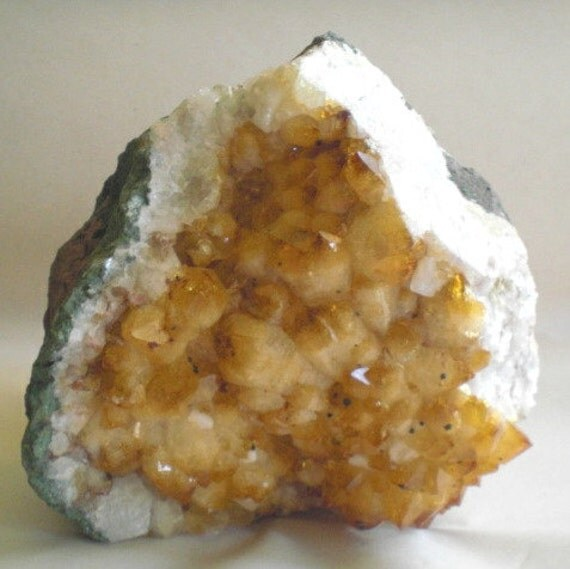 Citrine Geode Quartz Crystal Specimen, Display Specimen