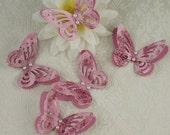 Butterflies Paper Lace 3D Pink Pattern Pearls Scrapbooking Cards x 5 Handmade