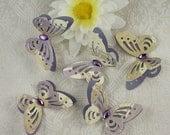 Butterflies Paper Lace 3D Shades Of Cream & Mauve Purple gem for body