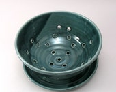 Berry Bowl-Ceramic Strainer-Pottery Colander-Pottery Strainer-Blue Green Glaze-Teal