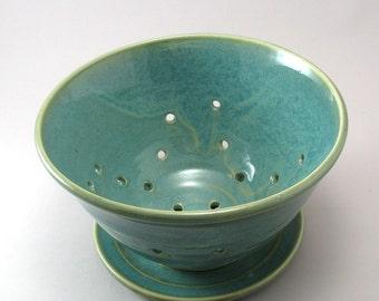 Pottery Colander Strainer-Teal-Pearl Green Glaze-Stoneware Colander-Pottery Strainer-Ceramic Fruit Bowl