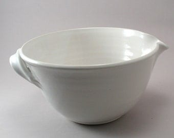 Pottery Mixing Bowl-White-Creamic-Classic White Glaze-Handmade Pottery-Stoneware-Tableware-Ceramic-Ready to Ship