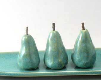 Pears - Ceramic Pears - Pottery - Ceramic Fruit - Teal - Pearl Green Glaze