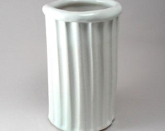 Ceramic Utensil Holder-Pottery Kitchen Crock-Spoon Holder-Stoneware Vase-Wide Mouth Flower Vase-Classic White Gloss Glaze