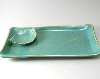 Serving Tray-Stoneware Platter-Appetizer Plate-Handmade-Pottery Platter-Leaf Dipping Bowl-Pearl Green Glaze