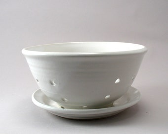 Berry Bowl - Pottery Strainer - Colander - White - Ceramic Fruit Bowl - Classic White Gloss Glaze - Stoneware