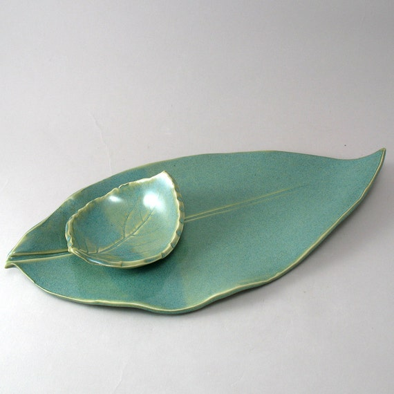 Leaf Plate-Leaf Dipping Bowl-Serving Tray-Teal-Hand Built-Pottery Bowl-Pearl Green Glaze