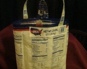 upcycled plastic rice bag  shopping tote