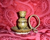 vintage pottery candle holder with handle