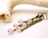 Chain Pink  Earrings - Antiqued Brass and Pink Quartz