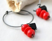 Hot Lava Hoops  - Oxidized sterling silver handmade hoops with Czech glass and lava beads - made to order