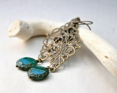 Vintage Style Lace Earrings - Brass and  Czech Glass beads