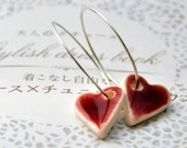 RESERVED  for tinkytinka - Shiny Hearts Earrings - Sterling Silver Hoops,  Porcelain Clay Red Hearts