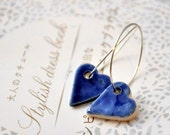 Shiny Hearts Earrings in Blue- Sterling Silver Hoops,  Porcelain Clay  Hearts