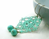 Lace Turquoise Earrings - Verdigris Brass and Turquoise