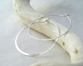 Shiny Silver Earrings - Sterling Silver Hoops, medium size - made to order