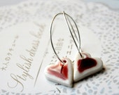 Red Hearts Earrings - Sterling Silver Hoops, Porcelain Clay Crimson Hearts - Last pair
