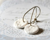 Porcelain Snowflake Earrings - Handmade Antiqued Brass Hoops and Porcelain Clay Charms - OOAK