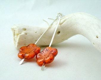 Orange Flowers Earrings - Sterling Silver and Czech Glass