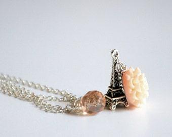 Paris Necklace - Pink Czech glass and silver toned chain, Tour Eiffel charm, flower cabochon.