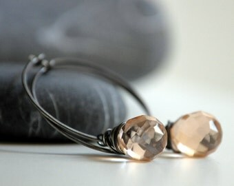 Silver Pink Earrings - Oxidized sterling silver and Czech Glass pink teardrop beads