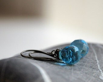 Silver Aqua Earrings - Oxidized sterling silver and Czech Glass blue teardrop beads - ready to ship