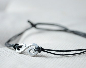 For Him Bracelet  - Aluminium wire and waxed cotton - Men and Unisex bracelet - Vegan friendly
