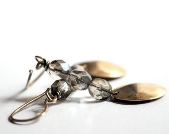 Brass Domes Earrings -  Antiqued brass and Czech glass