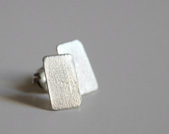 Sterling silver post earrings - brushed rectangles