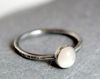 Oxidized sterling silver ring - stacking ring with 6mm Moonstone cabochon - MADE TO ORDER