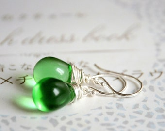 Green Drops Earrings -  Sterling Silver and Czech Glass