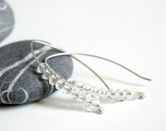 Silver Clear Earrings - Sterling silver and Czech Glass clear beads