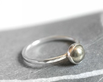 Sterling silver ring - stacking ring with 6mm pyrite cabochon - MADE TO ORDER