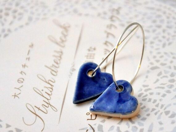Shiny Hearts Earrings in Blue- Sterling Silver Hoops,  Porcelain Clay  Hearts