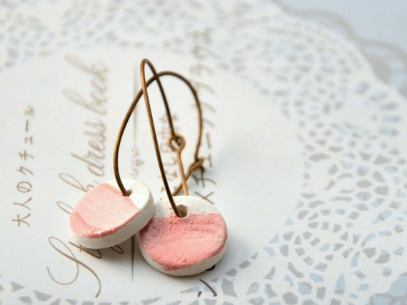 Brass and Porcelain Earrings - Pink Dots in Pastel Pink - Only One Pair