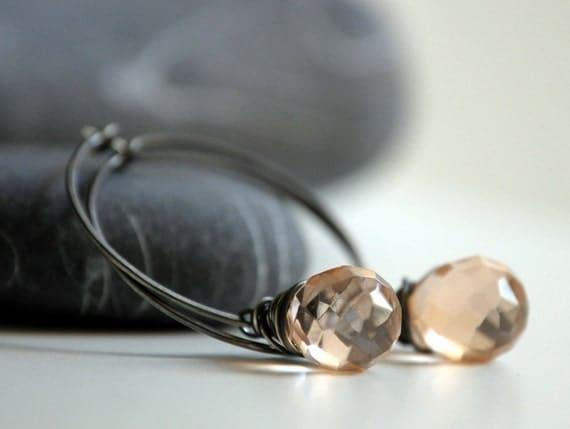 Silver Pink Earrings - Oxidized sterling silver and Czech Glass pink teardrop beads