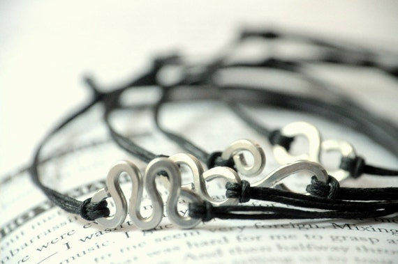 Three Bracelets for Him - Aluminium wire and waxed cotton - Men and Unisex - Vegan friendly