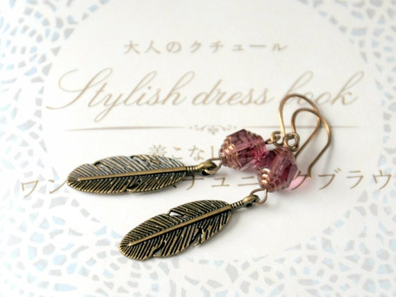Pink Feather Earrings - Antiqued brass and Czech glass
